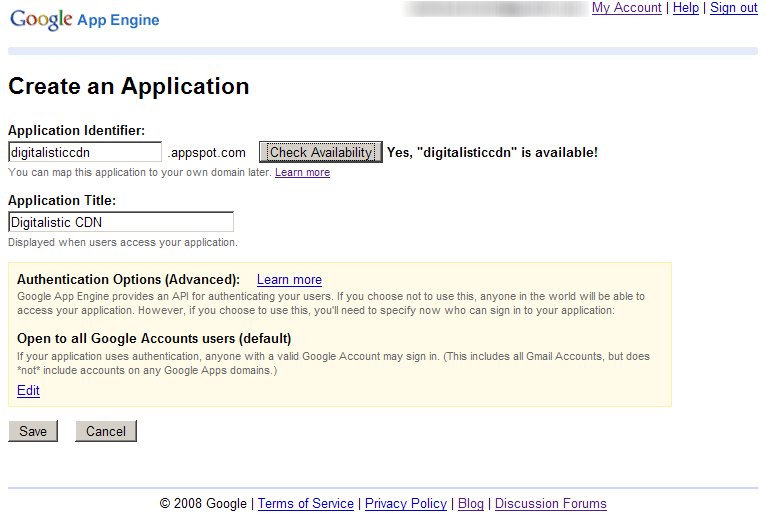 Выбор имени приложения в Google Apps